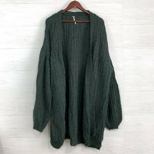 Free People Alpaca Wool Blend Emerald Cardigan